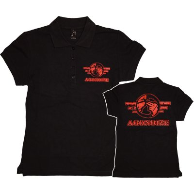 Girly-Polo-Hemd AGONOIZE rotes Logo