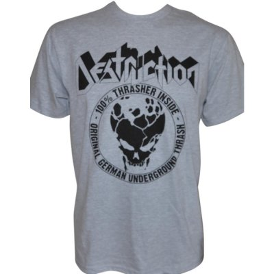 T-Shirt DESTRUCTION 100 % Thrasher - Black-Print on Grey-Gildan-T-Shirt
