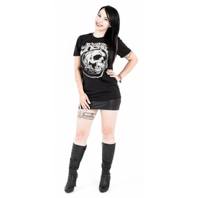 Girly-Shirt ORCHID Skull Grey