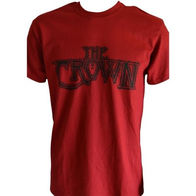 T-Shirt THE CROWN Black-Logo on Cardinal Red